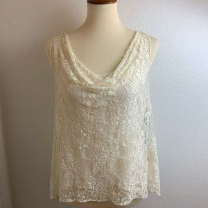 NWT Alice + Olivia Ivory Cowl Neck Lace Top.Med